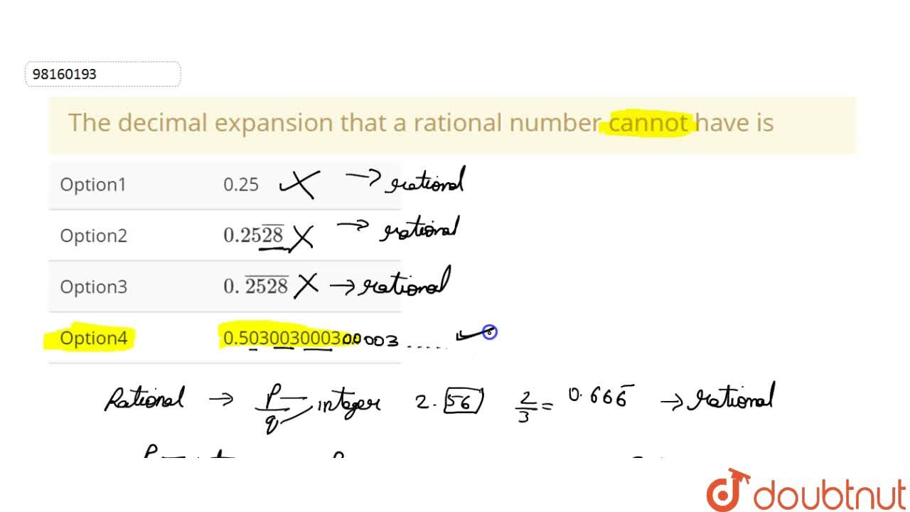 The decimal expansion  that a rational number cannot have is