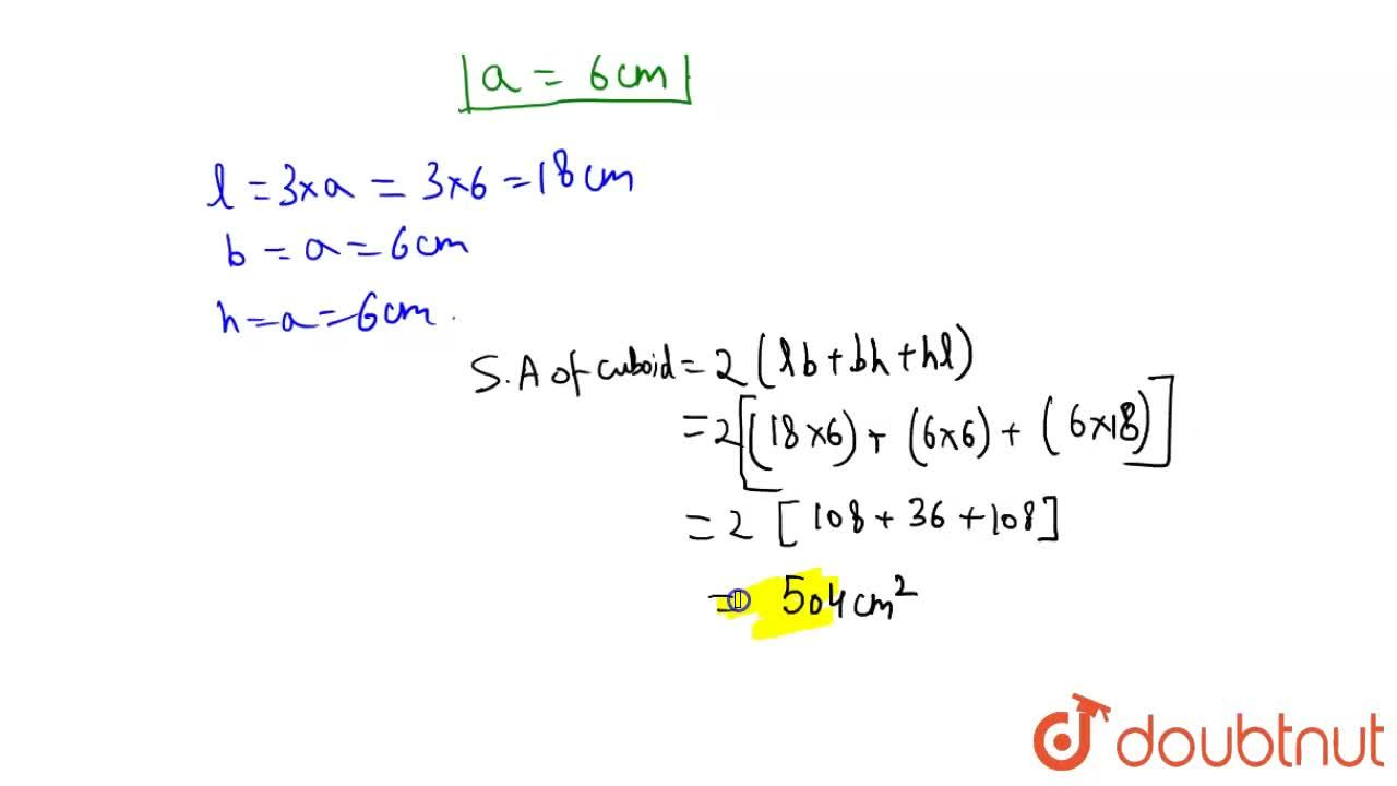 Solution for Three cubes each of the volume 216 cm^3 are join