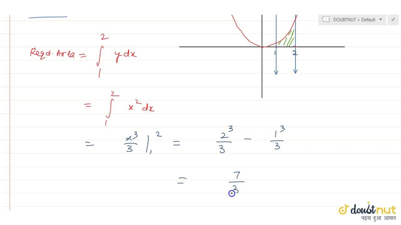Solution for Find the area bounded by the curve y=x^2, x=1, x=