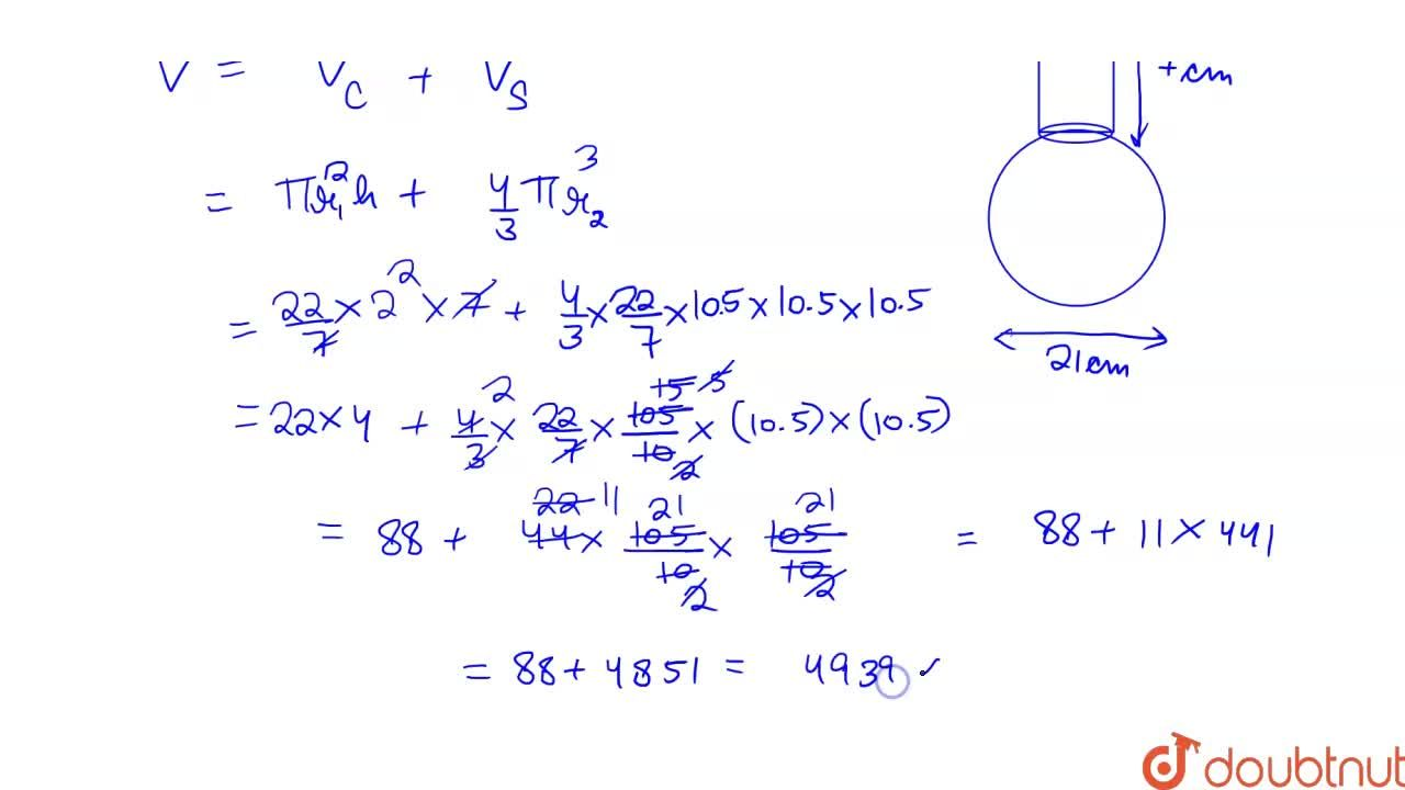Solution for  A spherical glass vessel has a cylindrical neck 7