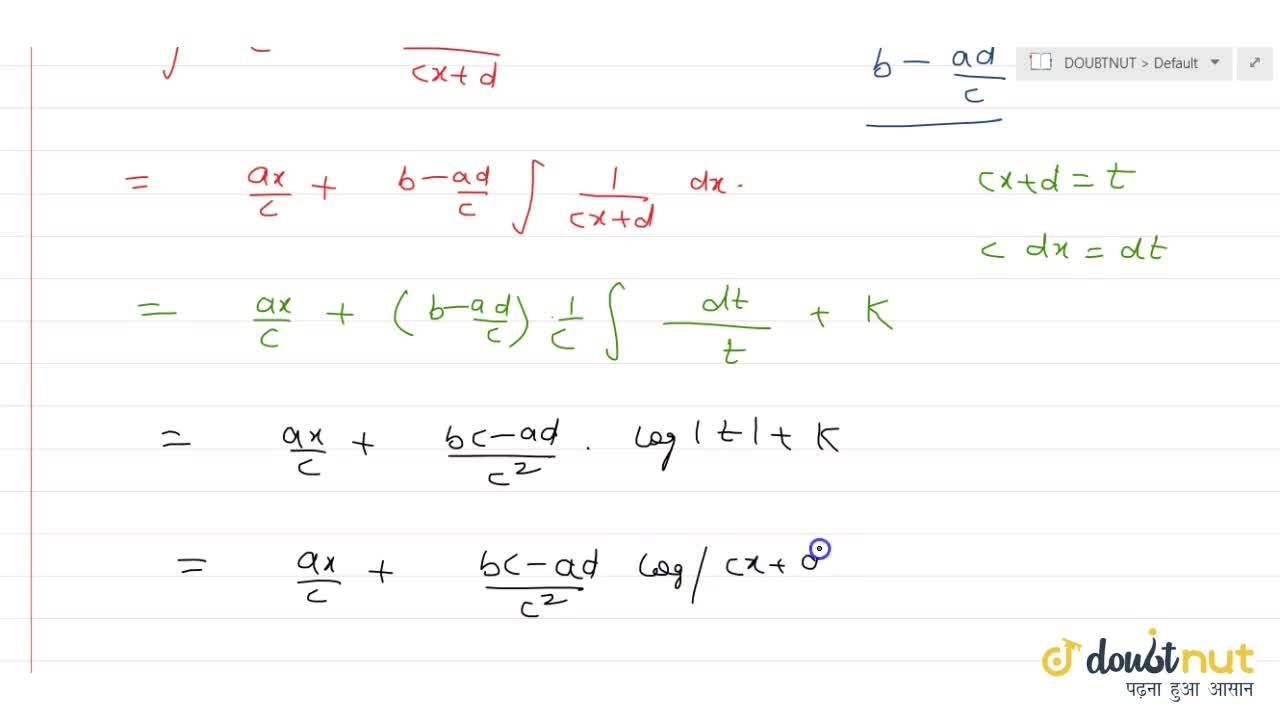 Solution for int(a x+b),(c x+d) \ dx