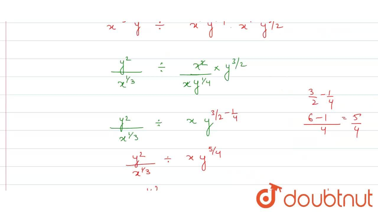Assuming  that x, y, z are positive  real numbers,  simplify each of the  following .  <br>  (i) sqrt(x^(3)y^(-2)) (ii)   (x^(-2,,3) y^(-1,,2))^(2)   (iii) ((x^(-4)),(y^(-10)))^((5),(4)) <br>  (iv) (root4(81 x^(8)y^(8)z^(16))) div (root3(27x^(3)y^(6)z^(9))) <br>  (v) root5(x^(4) root4(x^(3)root3(x^(2)sqrt(x))))  <br> (vi) ((sqrt(x))^(-(2),(3)) sqrt(y^(4))) div (sqrt(xy^(-(1),(2))) sqrt(x^(-2)y^(3)))