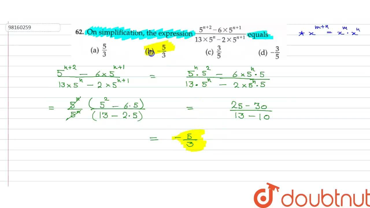 """Solution for On simplification factor of """"""""((5^(n+2)-6*5^(n+1)"""