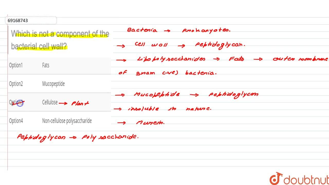 Solution for Which is not a component of the bacterial cell wal
