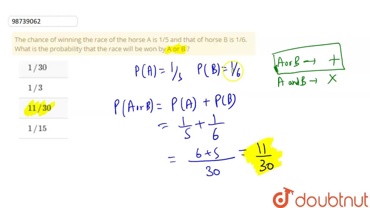Solution for The chance of winning the race of the horse A is 1
