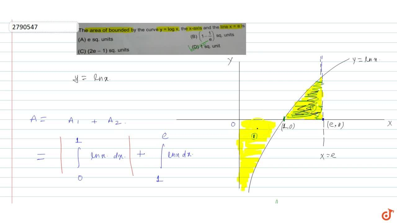 Solution for The area of bounded by the curve y = log x, the
