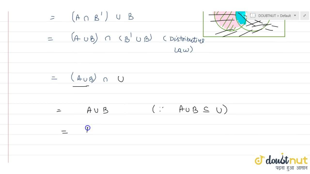 Solution for If A and B are any two sets then (A-B)uuB=AuuB