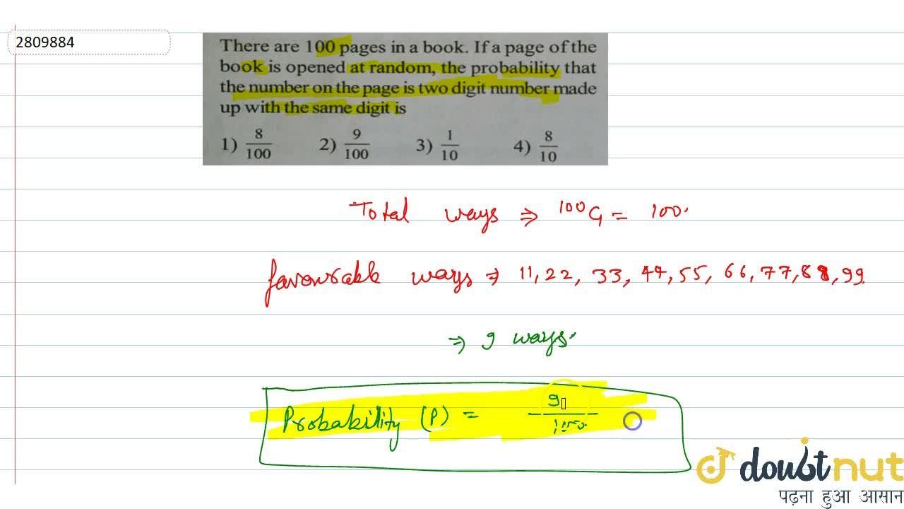 Solution for There are 100 pages in a book. If a page of the bo
