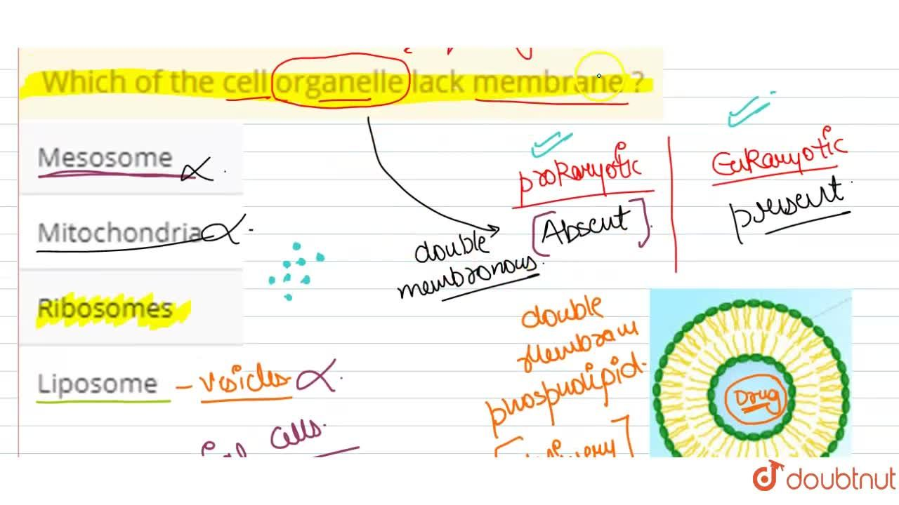 Solution for Which of the cell organelle lack membrane ?