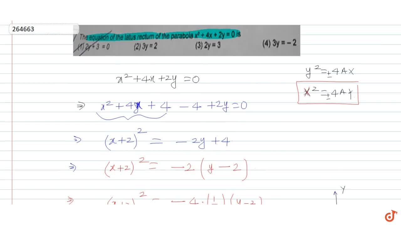 Solution for The equation of the latus rectum of the parabola