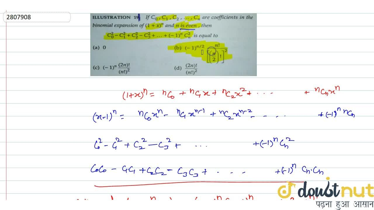 Solution for If C_0,C_1,C_2,....,C_n are coefficients in the