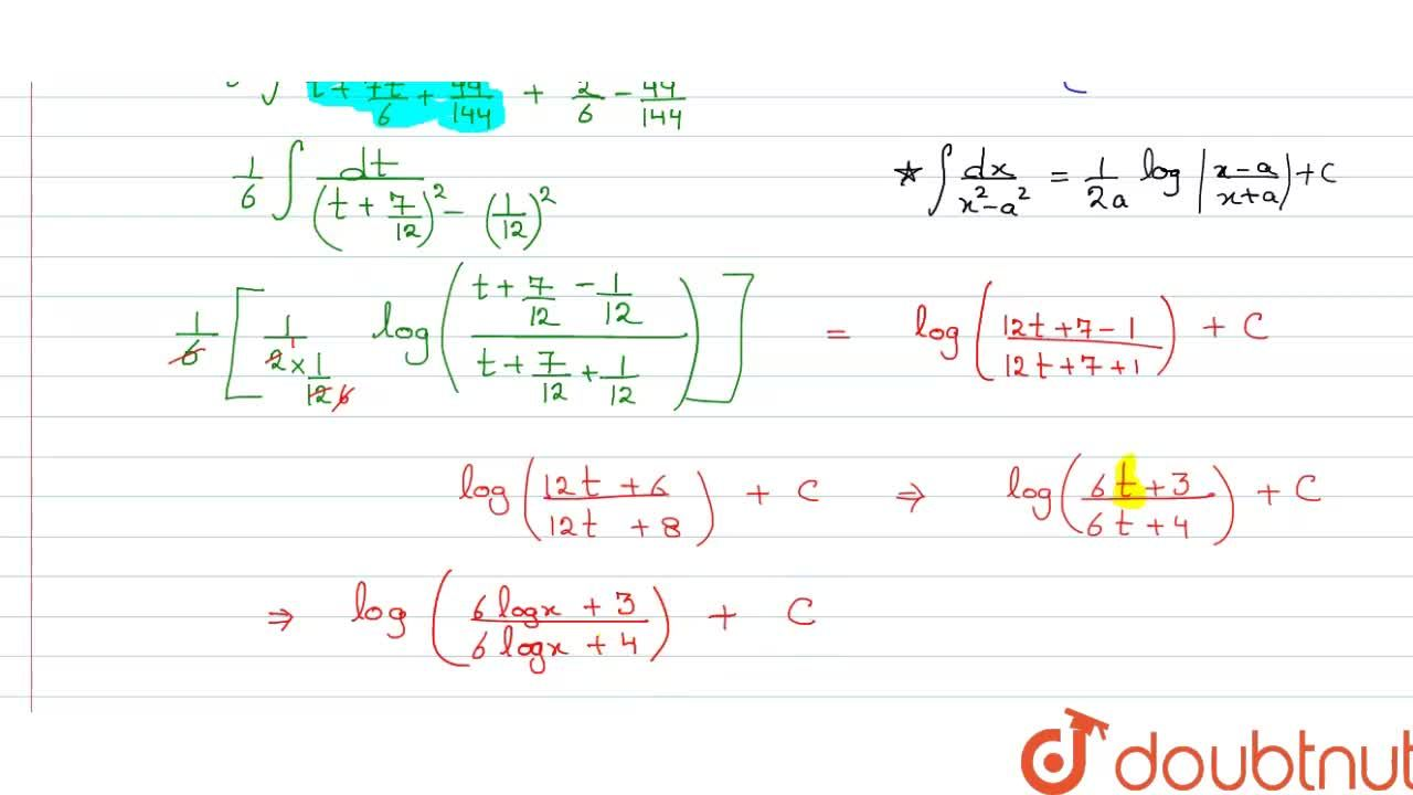 Solution for Integrate the following w.r.t.x. <br> (1),(x[6(lo