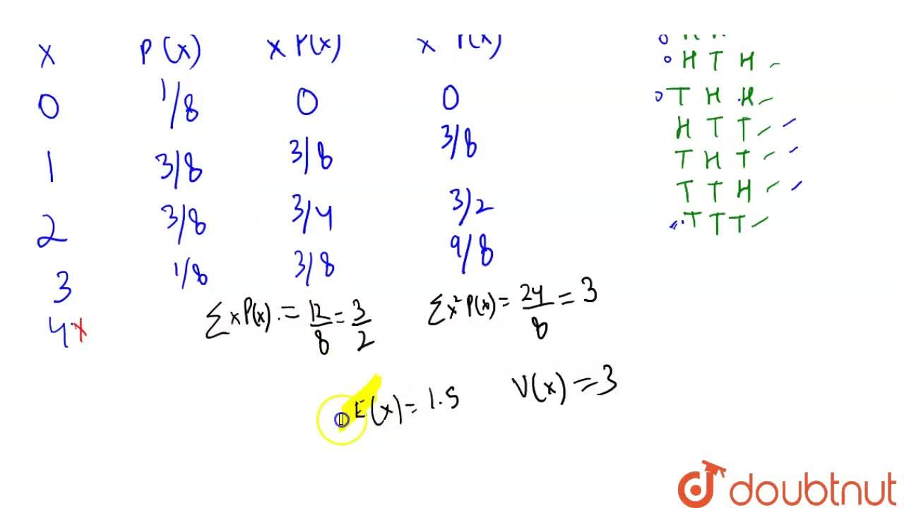 A fair coin is tossed 3 times. Let X be the number  of heads  obtained. Find E(X) and V(X).