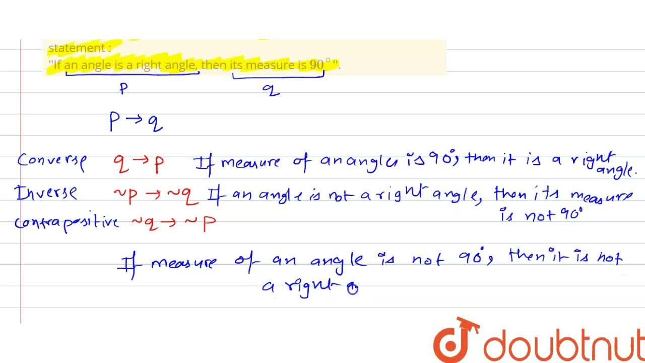 Solution for Write converse, inverse and contrapositive of the