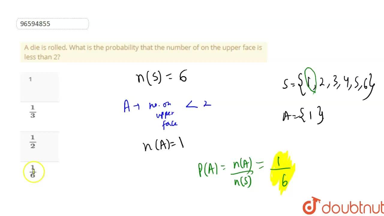 Solution for A die is rolled. What is the probability that the