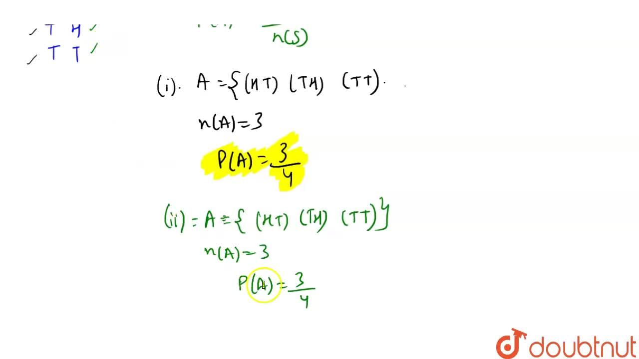 Solution for Two coins are tossed simultaneously. What is the p