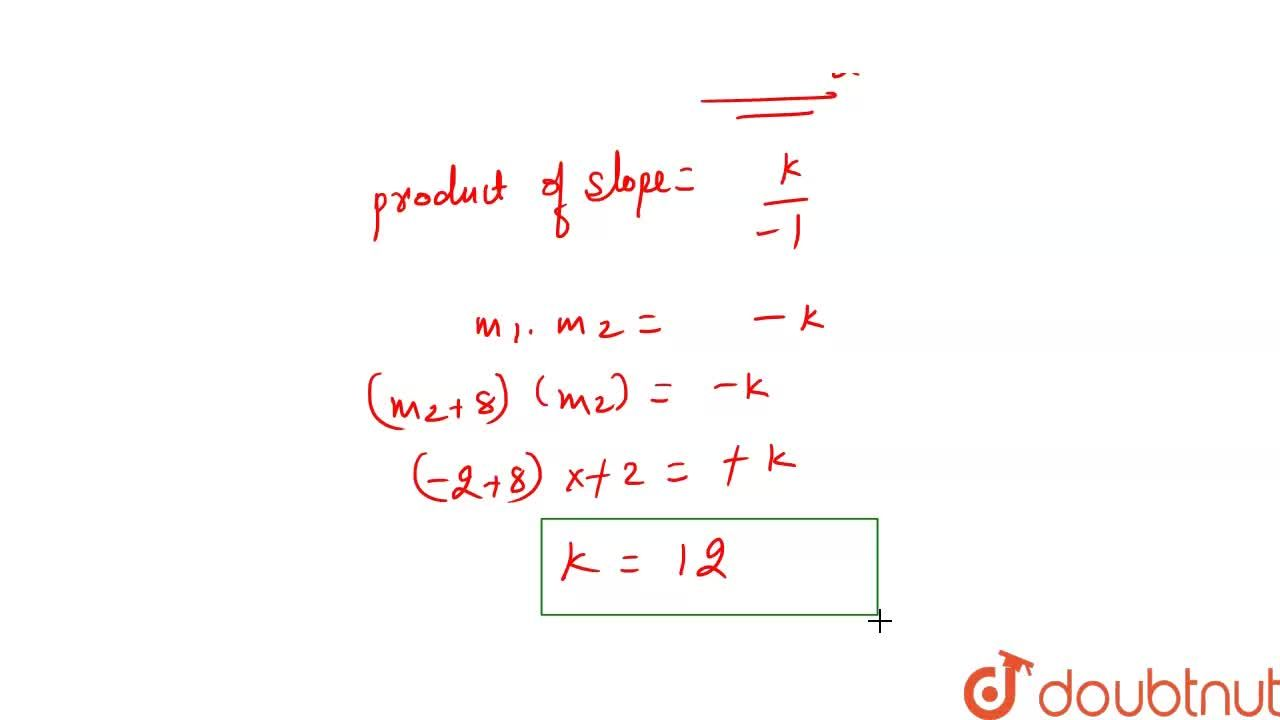 Solution for Find k, if the slope of one of the lines given by