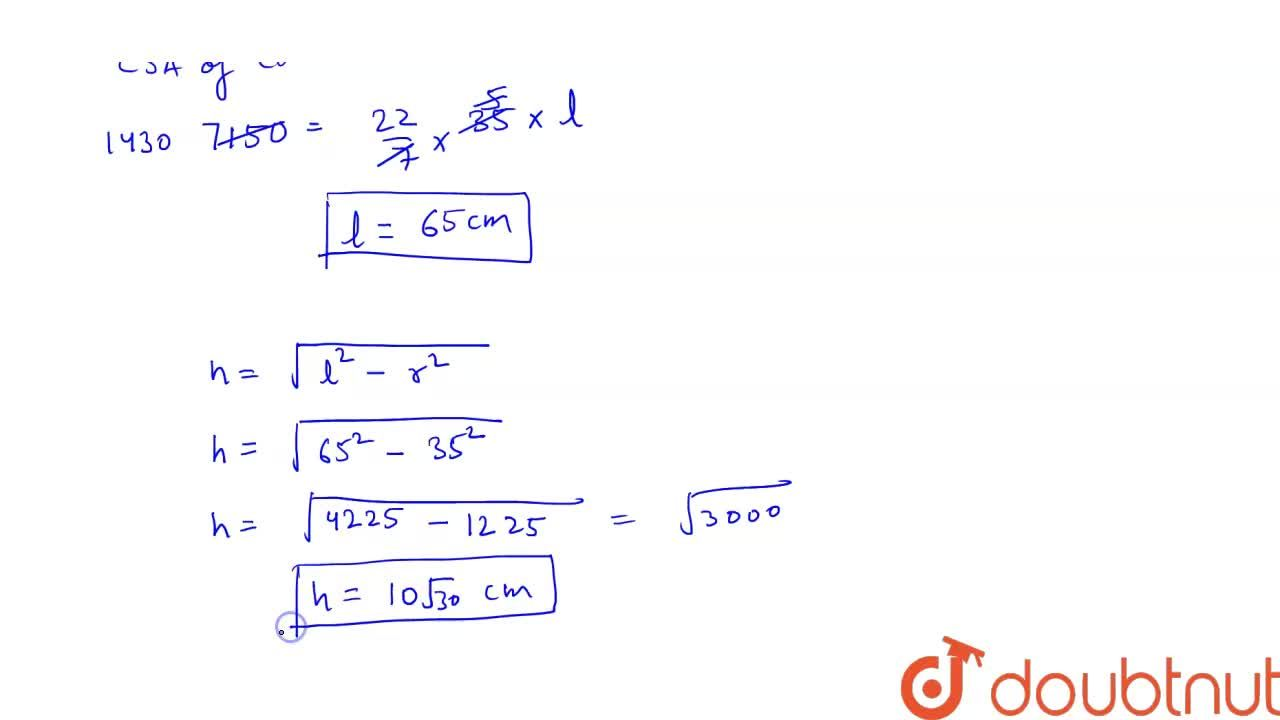 Solution for The curved surface area of a cone is  7150 cm^2