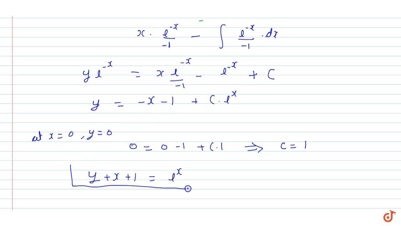 Find   the equation of a curve passing through the origin given that the slope of   the tangent to the curve at any point (x, y) is equal to the sum of the   coordinates of the point.