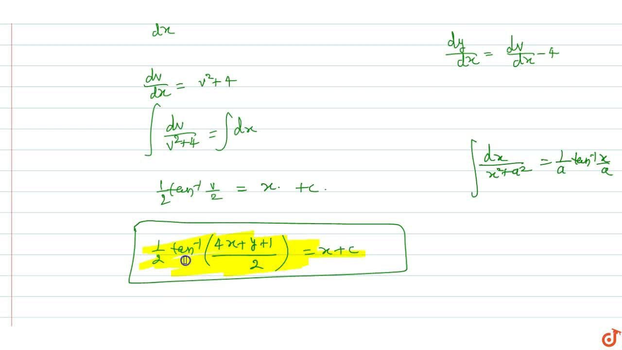 Solution for (dy),(dx)=(4x+y+1)^2