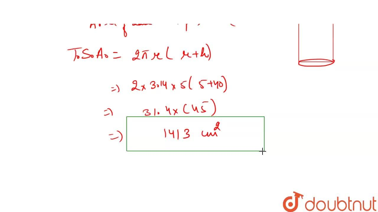 Find the total surface area of the cylinder, if the radius of its base is 5 cm and height is 40 cm. (pi= 3.14)