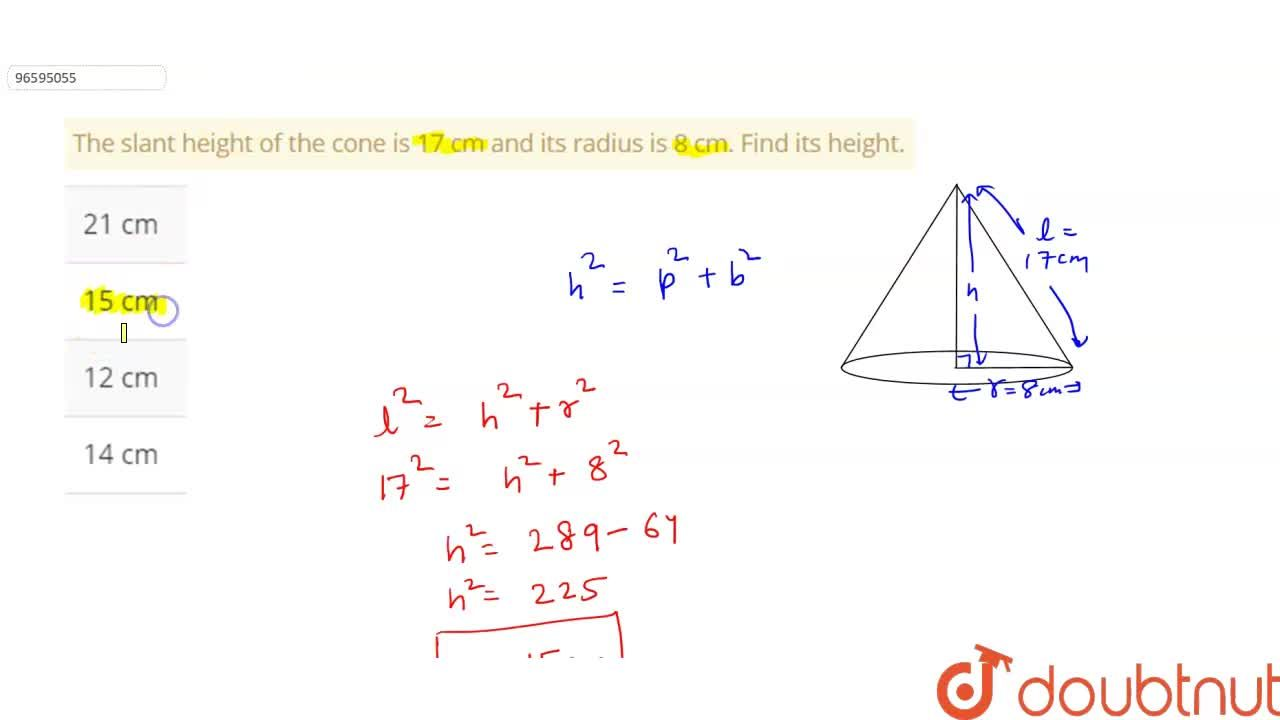Solution for The slant height of the cone is 17 cm and its radi