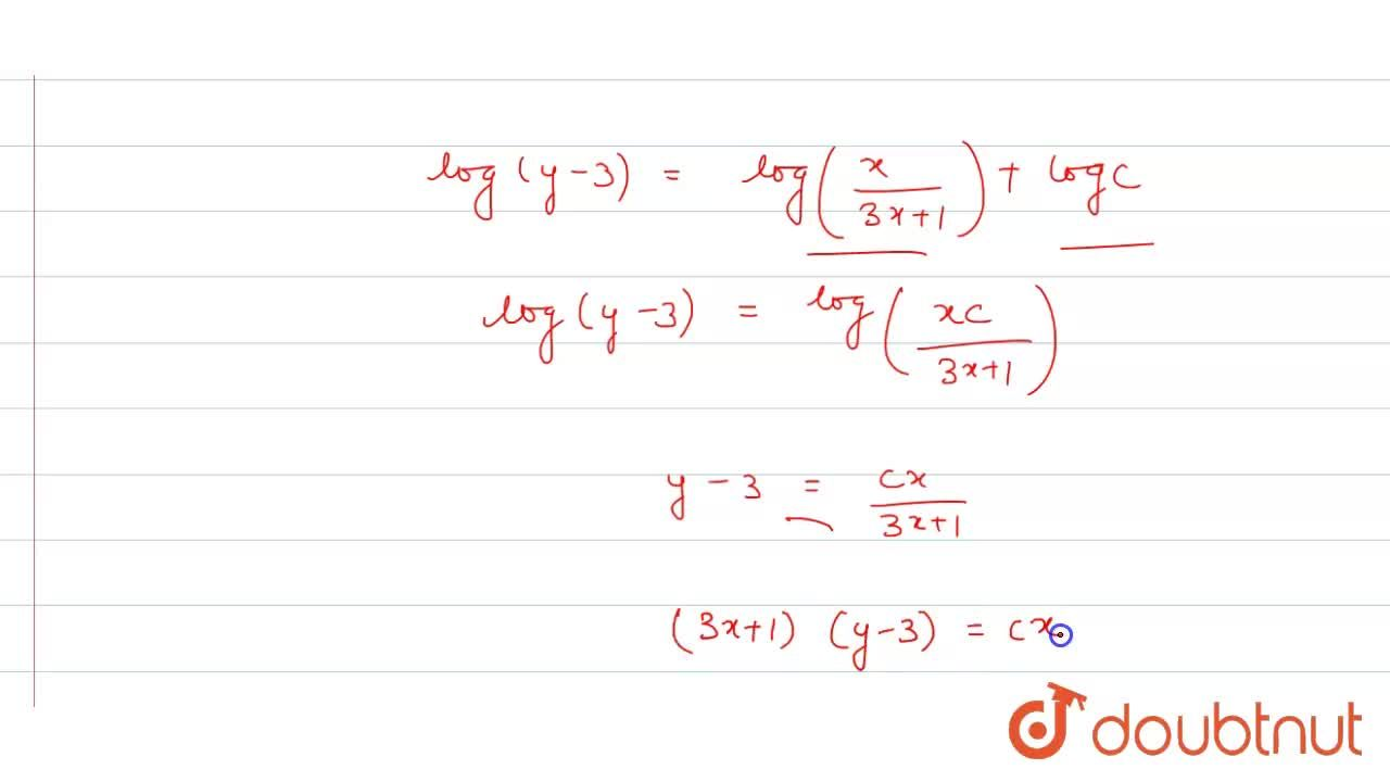 Solve the following differential equations : <br>  y -x (dy),(dx) =3 (1+x^(2) (dy),(dx))