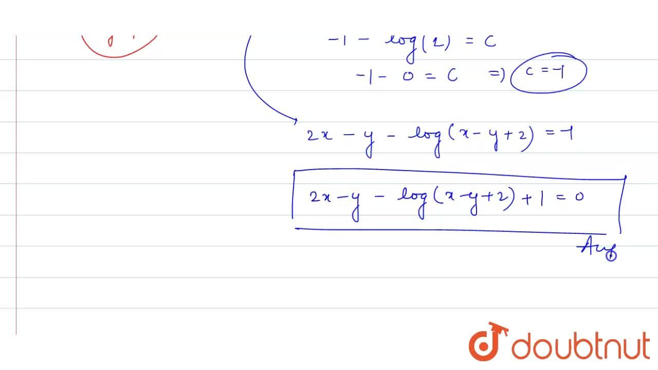 """Solution for (2x -2y+3) dx -(x-y+1) dy=0 , """" when"""" x=0, y=1"""