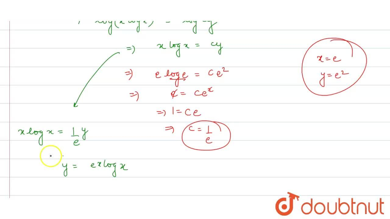 Find the particular solutions of the following differential equation : <br> (1)  y(1+ log x) dx,dy - x log x = 0 , when , x =e , y= e^(2)