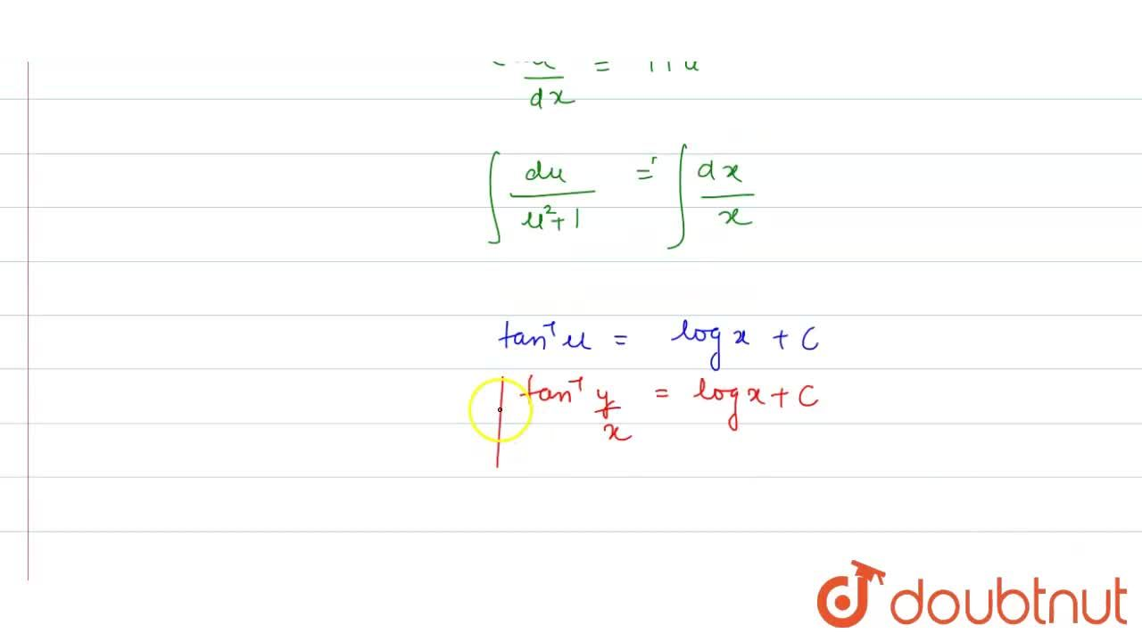 Solve the following differential equations :  (1)  x^(2) (dy),(dx)= x^(2) + xy + y^(2)