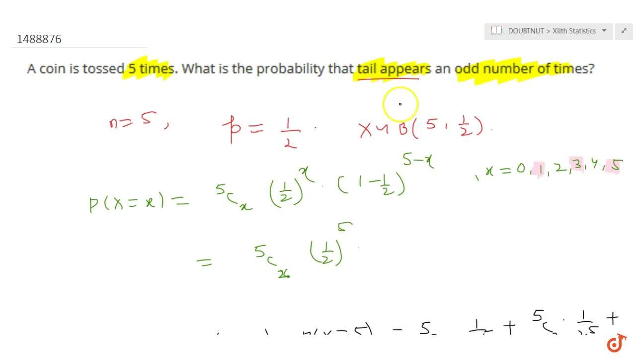 Solution for A coin is tossed 5 times. What is the probability