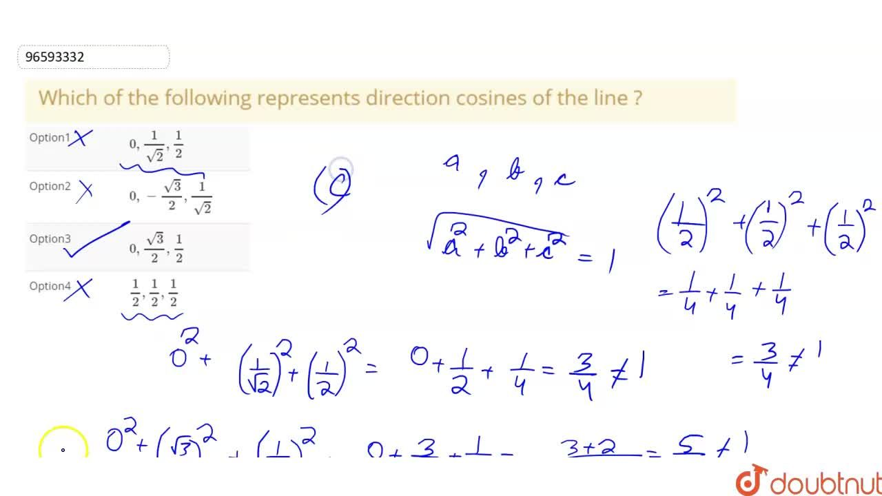 Solution for Which of the following represents direction cosine