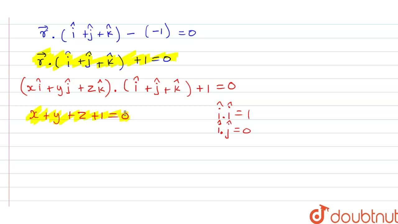 Solution for Find the vector and cartesian equations of the pla