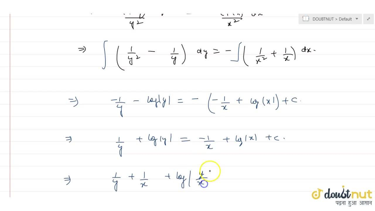 Solution for  Solve the differential equation  x^2(1-y)dy,dx+y