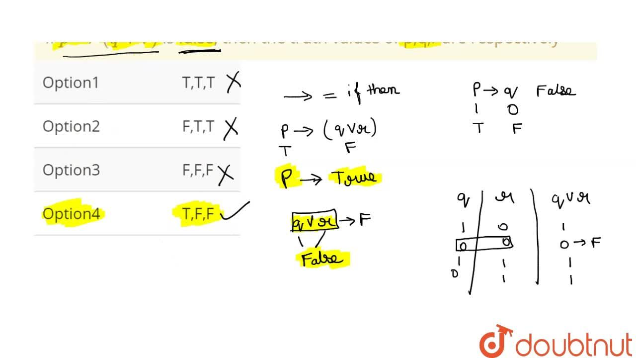 Solution for If  p to (q vv r) is false, then the truth value