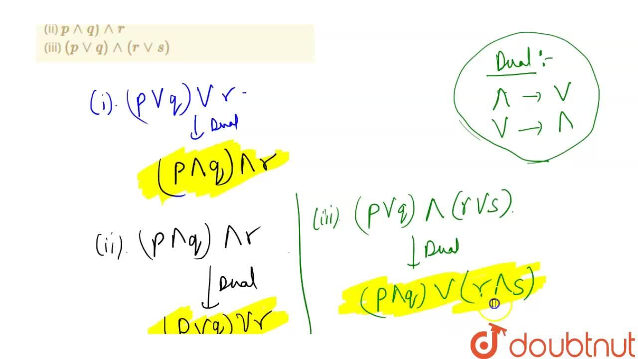 Write the duals of the following statements : <br> (i)  ( p vee q) vee r <br> (ii)  p ^^ q)  ^^ r <br> (iii)  ( p vv q) ^^ (r vv s)