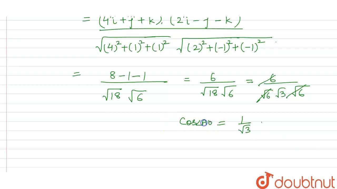 Solution for  The vertices of a triangle ABC are A (2,3,1) , B(
