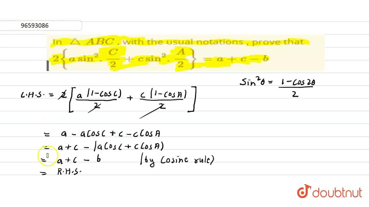 In triangle ABC , with the usual notations , prove that 2{a sin^(2).(C),(2)+csin^2.(A),(2)}=a+c-b