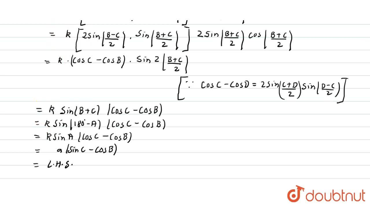 Solution for In triangle  ABC, prove that a(cosC-cosB)=2(b-c