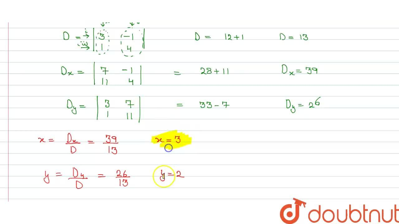 Solution for Solve the simultaneous equations 3x-y=7, x+4y=1
