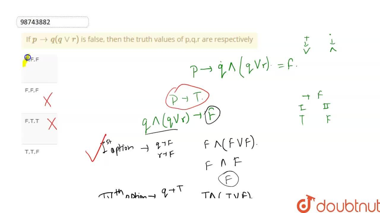 If  p to q ( q vv r) is false, then the truth values of p,q,r are respectively