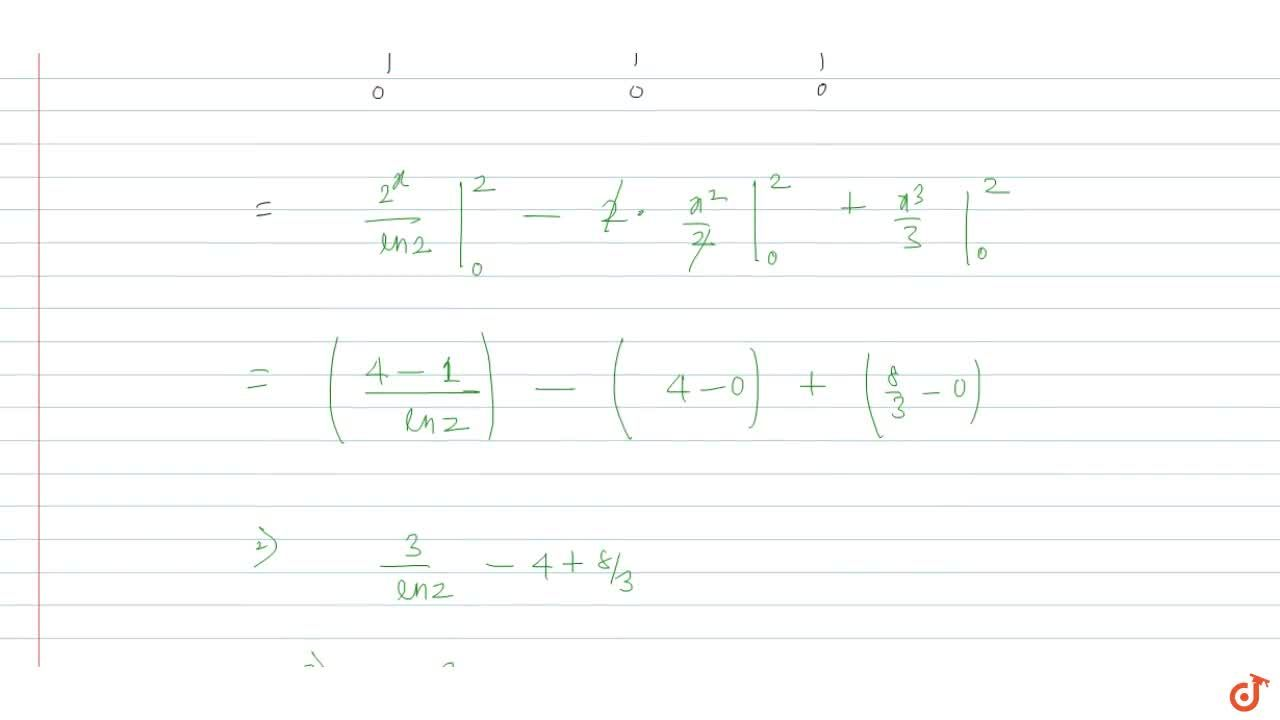 Solution for Area bounded by the curves  y=2^x,y=2x-x^2,x=0 an