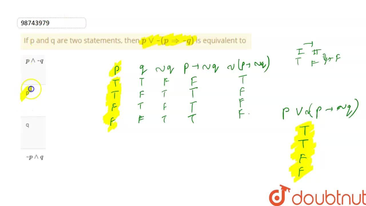 Solution for If p and q are two statements, then   p vv ~  ( p