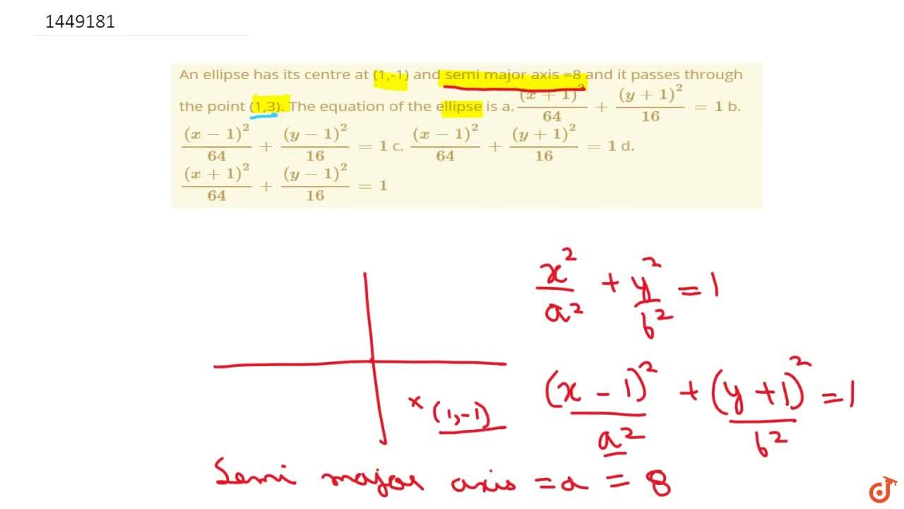 Solution for An ellipse has its centre at (1,-1) and semi major