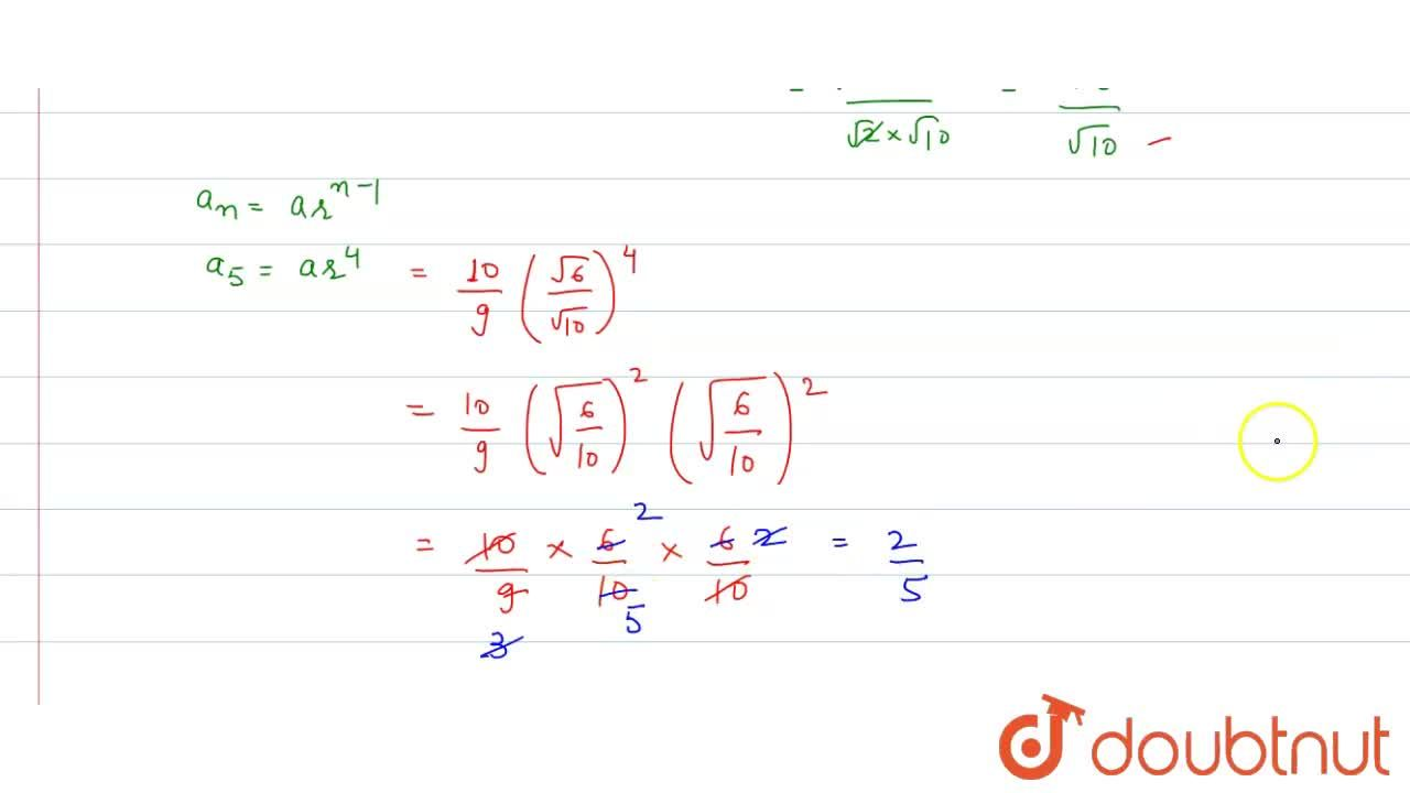 Solution for The 5th term of the series (10),(9),(1),(3)sqrt((