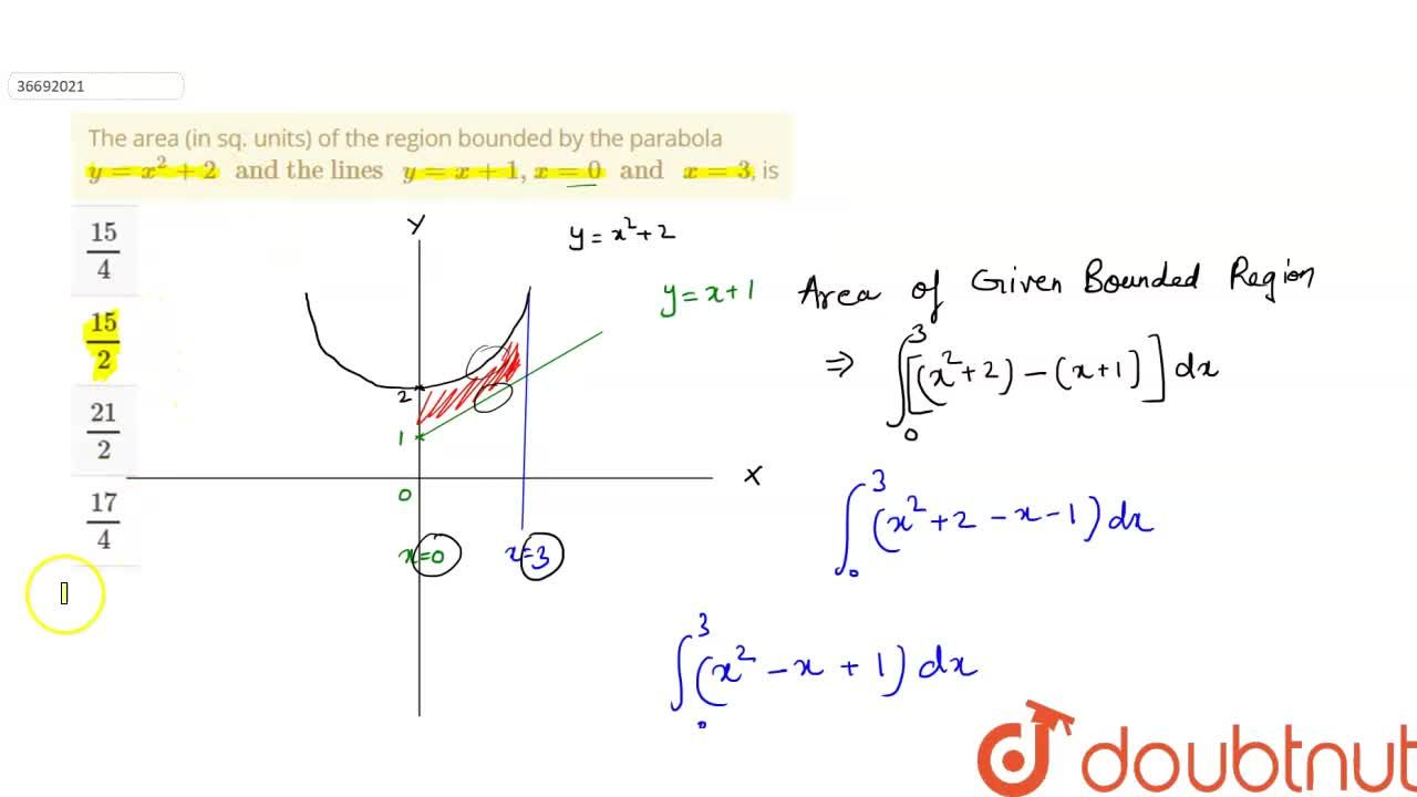 """The area (in sq. units) of the region bounded by the parabola y=x^2+2"""" and the lines """" y=x+1, x=0 """" and """" x=3, is"""