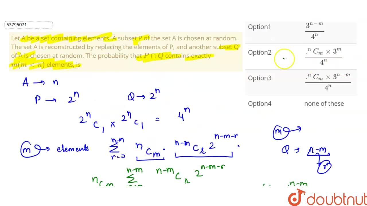 Solution for Let A be a set containing elements. A subset P of
