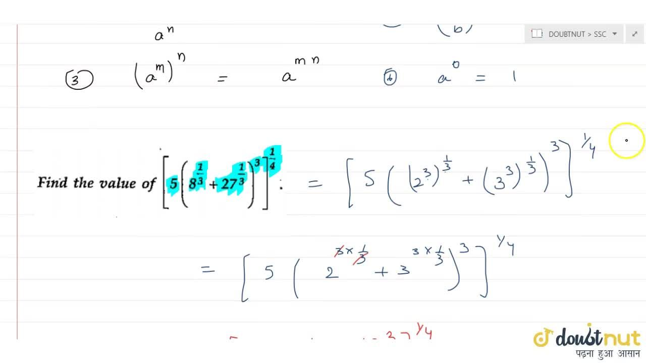 Solution for Laws of indices