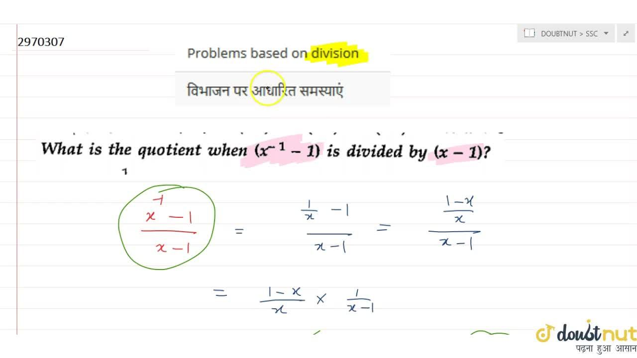 Solution for Problems based on division