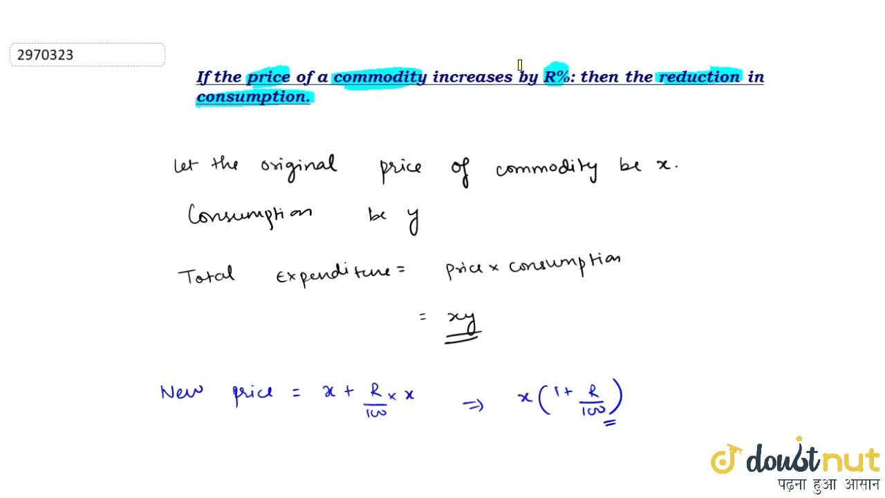 Solution for If the price of a commodity increases by R%: then